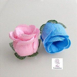 25 Forminhas para doces Flor Botão Rosa- Chá Revelação -F044
