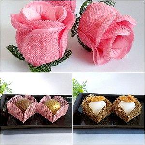 Kit Forminhas Para Doces Luxo Botao De Rosa Casamento ROSA CHA