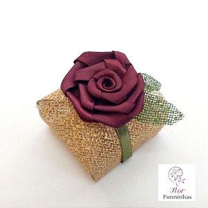 10 Porta Bem Casado em tela com Flor Em Cetim - Flor Marsala- B009