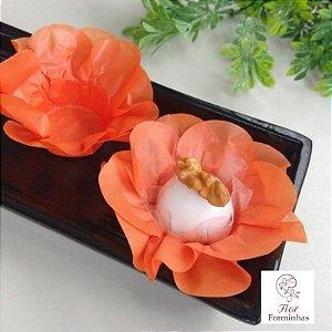 50 Forminhas Flor Primavera Papel Laranja F012