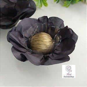 50 Forminhas Flor Primavera Papel Preto F012
