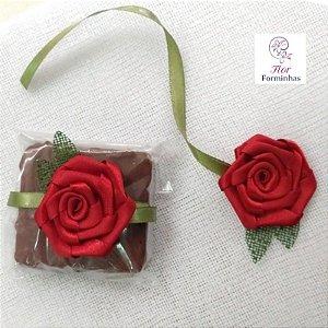 25 Un Flor em Cetim para Bem Casado Lembrancinhas Vermelho - B011