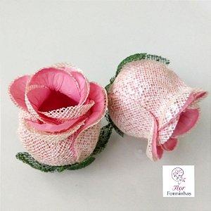 25 Forminhas para doces Flor Botão Rosa - Rosê com Pérola - F058