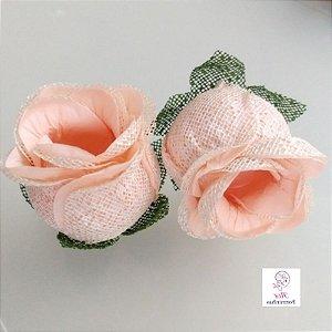 Forminhas para doces Flor Botão Rosa - Pessego com Pérola - F058
