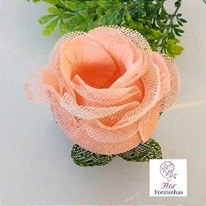 20 Forminhas para doces Flor Botão Rosa Super Pessego com Marfim - F060