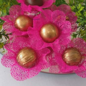 50 Forminhas Flor 4 Coracoes Pink- F056