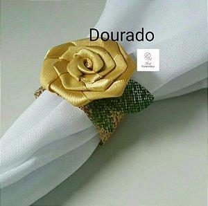 30 Porta Bem Guardanapo anel em tela com Flor Em Cetim - Flor Dourada - G001