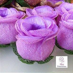 25 Forminhas para doces Flor Botão Rosa-  Lilas - F044