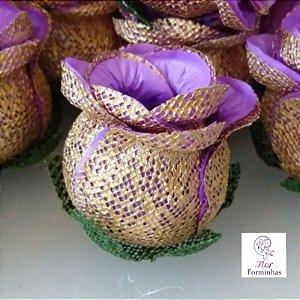 25 Forminhas para doces Flor Botão Rosa lilás - F043