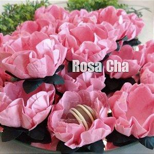 25 Forminhas Flor Gerbera Papel Rosa Cha - F062