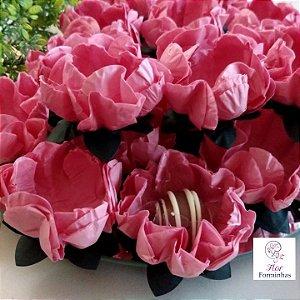 25 Forminhas Flor Gerbera Papel Rose- F062
