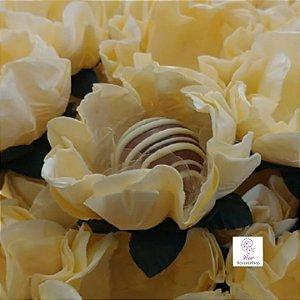 25 Forminhas Flor Gerbera Papel Marfim- F062