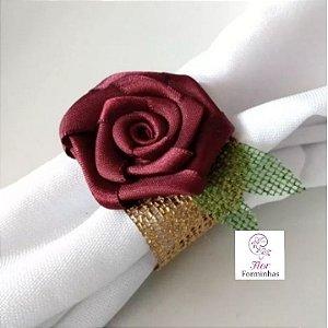 30 Porta Bem Guardanapo anel em tela com Flor Em Cetim - Flor Marsala- G001