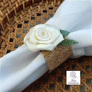 30 Porta Bem Guardanapo anel em tela com Flor Em Cetim - Flor Marfim- G001