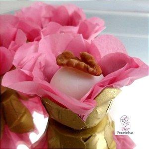 50 Forminhas Flor Primavera  Base Dourada G Rosê- F037