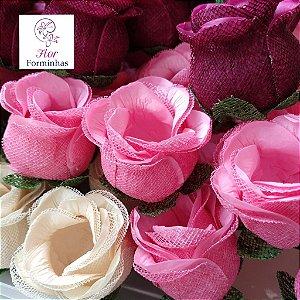 KIT 200 Forminhas para doces Flor Botão Rosa  Cores F043 F044