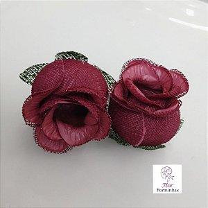 25 Forminhas para doces Flor Botão Rosa -Marsala / Marsala - F044