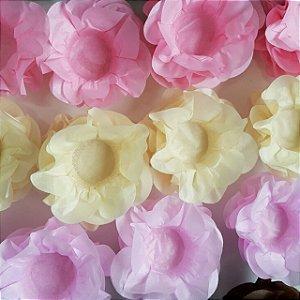 kit 600 Forminhas Flor Primavera Papel Rosa Cha, Rosa Bebe e Marfim F012