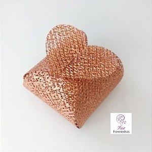 50 Porta Bem Casado Coração em tela Rose Gold - B012