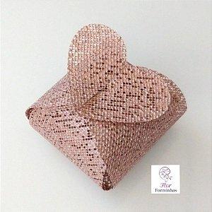 50 Porta Bem Casado Coração em tela Rose Perolizado- B012