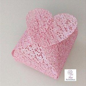 50 Porta Bem Casado Coração em tela Rosa Cha Perolizado- B012