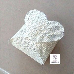 50 Porta Bem Casado Coração em tela Perola- B012