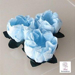 25 Forminhas Flor Gerbera Papel Azul bebe- F062