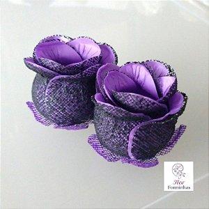 25 Forminhas para doces Flor Botão Preto e Roxo  - F044