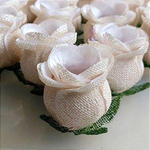 Forminhas para doces Flor Botão Rosa - Branco com Pérola - F058