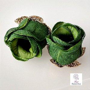 25 Forminhas para doces Flor Botão Rosa - Verde Floresta F044