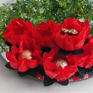 25 Forminhas Flor Gerbera Papel Vermelho- F062