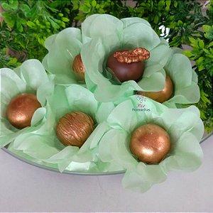 50 Forminhas Flor Primavera Papel Verde Bebe- F012