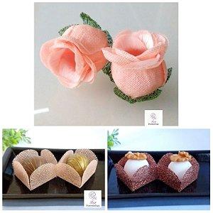 Kit Forminhas Para Doces Luxo Botao De Rosa Casamento Rosa Nude