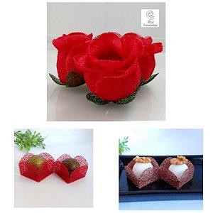 Kit Forminhas Para Doces Luxo Botao De Rosa Casamento Vermelho