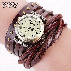 Relógio CCQ Vintage Retrô Trançado