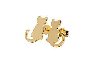 Brinco Gatinho - Folheado em ouro 18k ou ródio branco