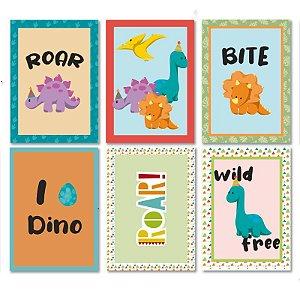 Quadros Decorativos Baby Dino 25x35cm com 06 unidades