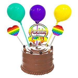Kit Top Cake Balão Pop It com 06 unidades