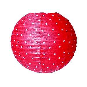 Lanterna Redonda Poa Vermelho Sem Luz 25Cm