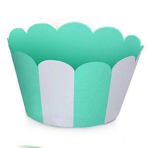 Mini Wraps Para Cupcake Listras Azul Bebê 14X3 Com 12 Unidades