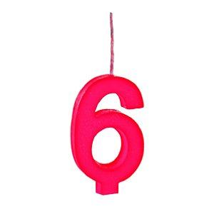 Vela N°6 Colors Vermelho