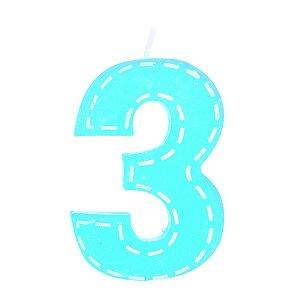Vela Grande Tracejada N°3 Azul Claro