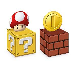 Caixa Cubo Com Aplique Super Mário 6X6X6 Com 08 Unidades