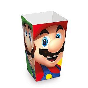 Caixa Para Pipoca Super Mário 6X6X12,5 Com 10 Unidades
