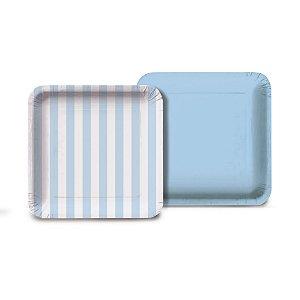 Prato Quadrado Listras Azul 18x18 Com 08 Unidades