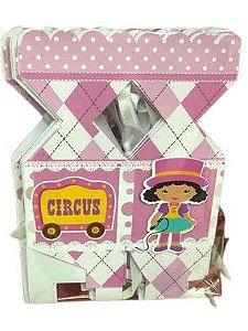 Caixa bala personalizada Circo Rosa com 06 unidades