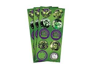 Adesivo decorativo redondo Hulk com 03 cartelas