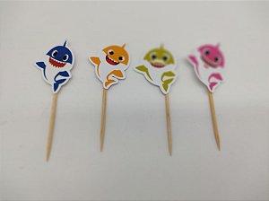 Pick para doces Baby Shark com 10 unidades