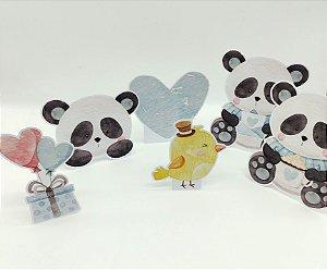 Decoração de mesa Panda Azul com 06 unidades