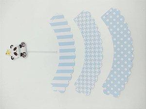 Kit para cupcake Panda Azul com 06 unidades